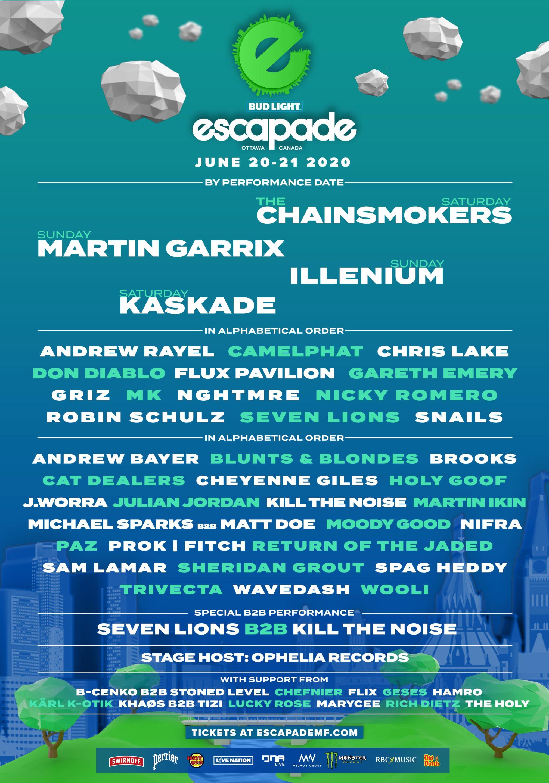 Escapade Music Festival lineup 2020